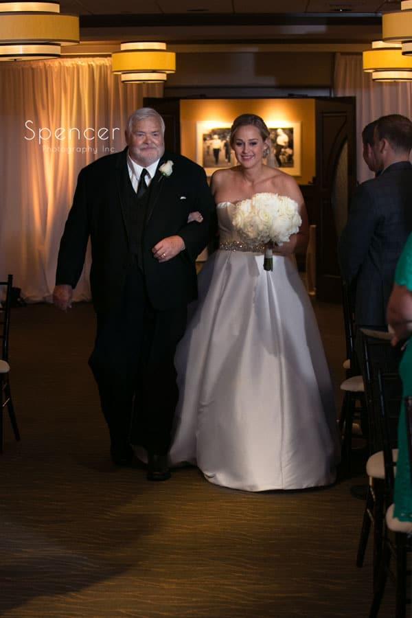 dad walking bride down aisle at firestone wedding ceremony