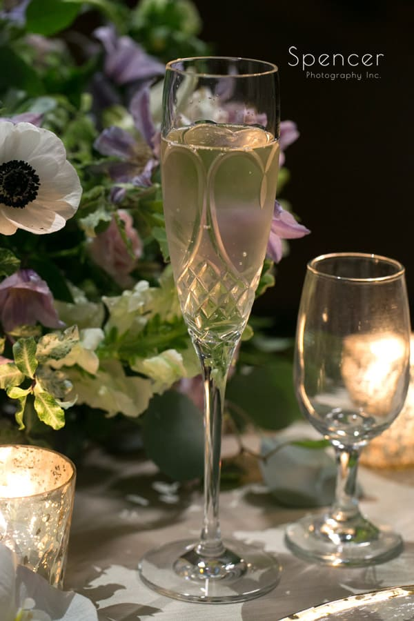 champagne flute at wedding reception at Akron Hilton