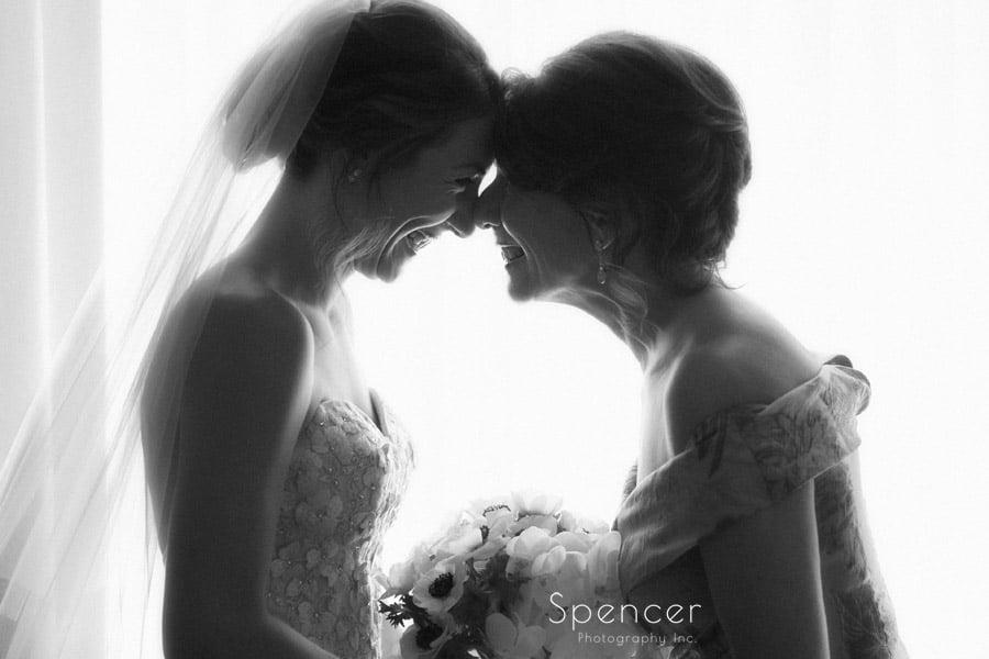 bride and mom before jewish wedding