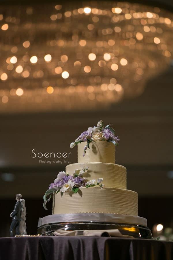 wedding cake at akron hilton reception