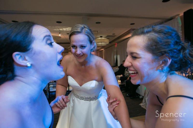 bridesmaids dancing at firestone reception