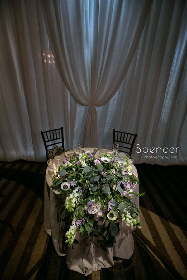 sweetheart table at akron hilton wedding reception
