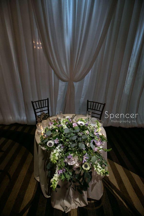sweetheart table at akron hilton wedding reception