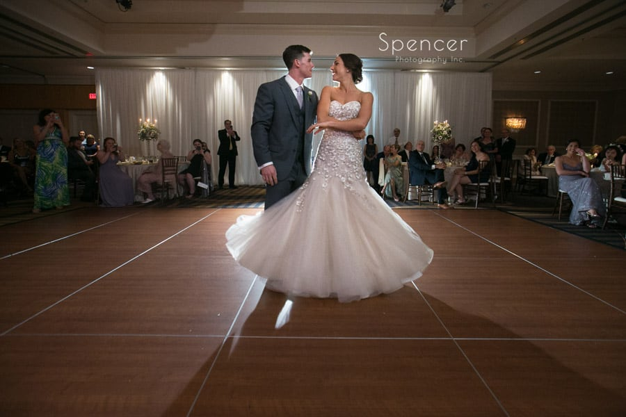 first dance at wedding reception at akron hilton