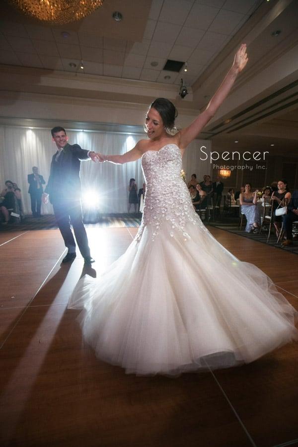 wedding reception first dance at akron hilton