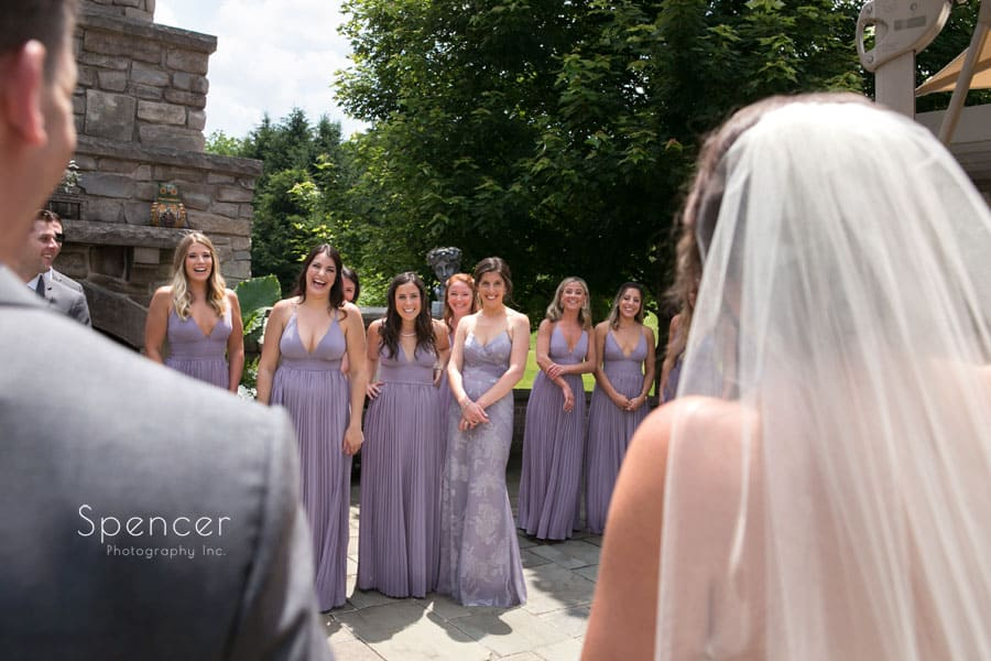 bridal party sees bride and groom for first time