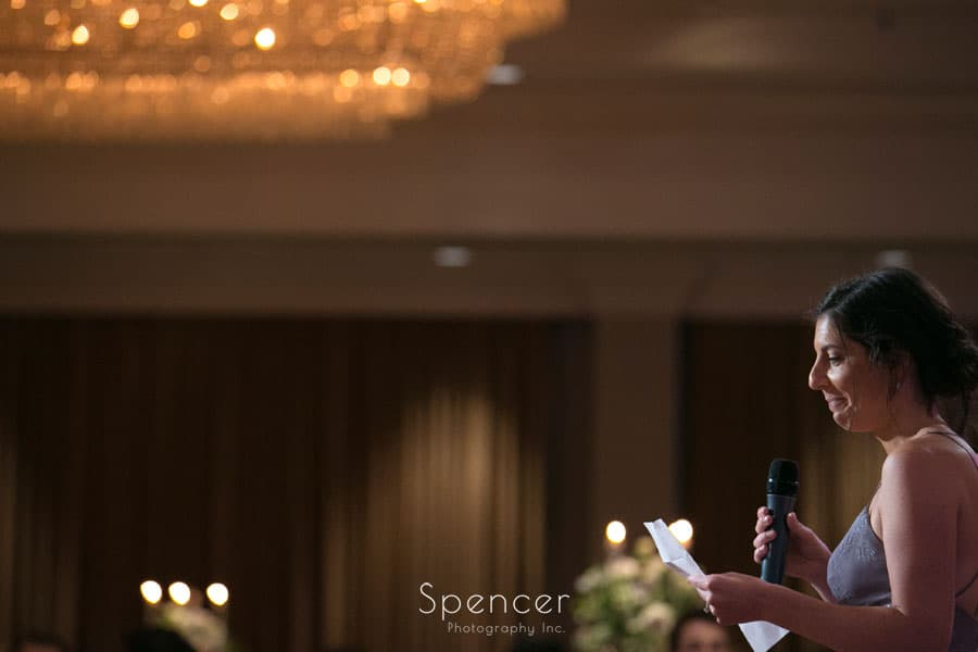 maid of honor speech at akron hilton wedding reception