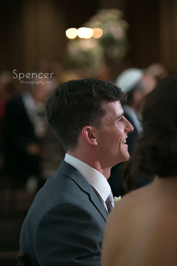 groom reacting to best man speech