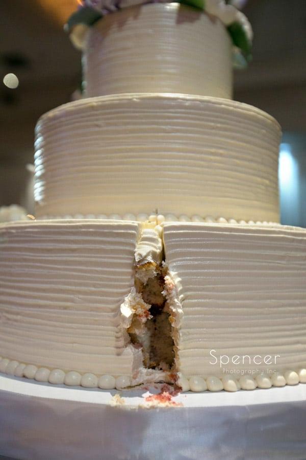 cake cutting at wedding reception at akron hilton