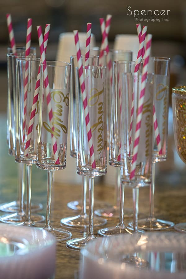 champagne glasses at akron wedding