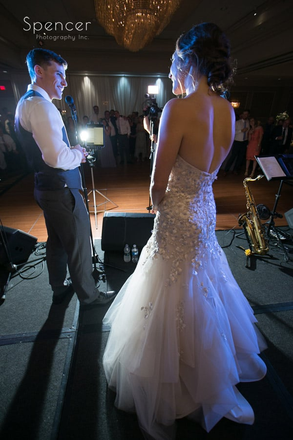 groom gives reception speech at akron hilton hotel