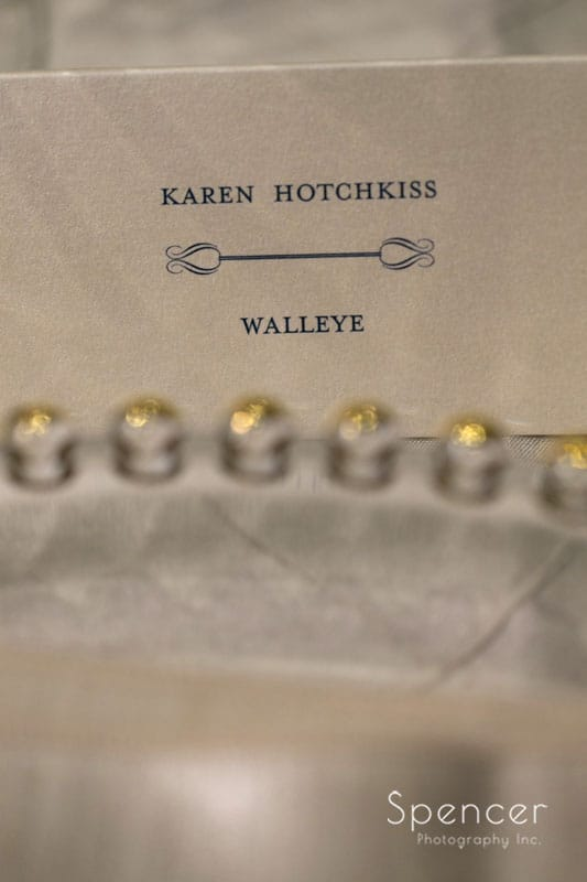 name placard at wedding reception at firestone country club
