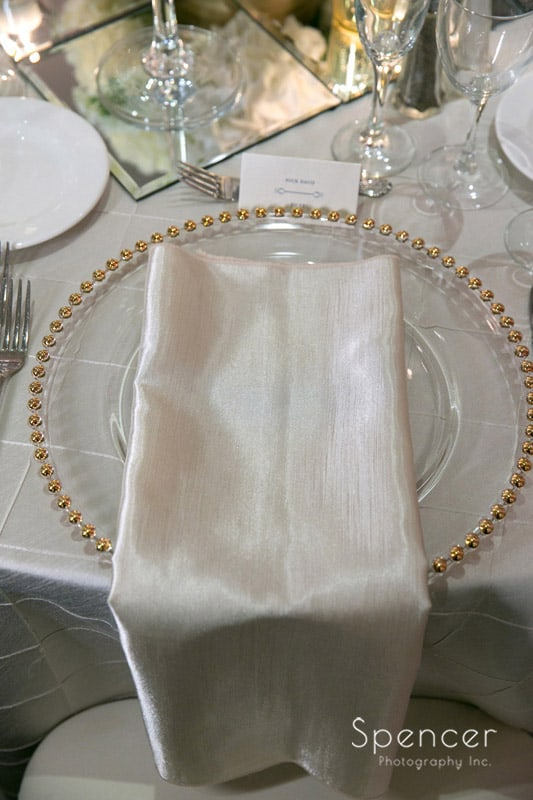 table setting at firestone country club wedding reception