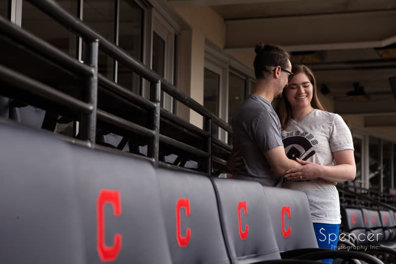 engagment pictures with indians seat in forground at progressive field