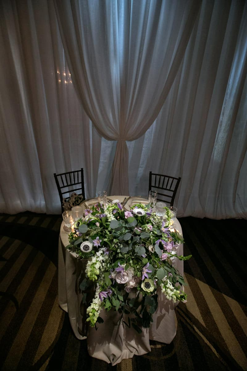 sweetheart table at Hilton Akron wedding reception