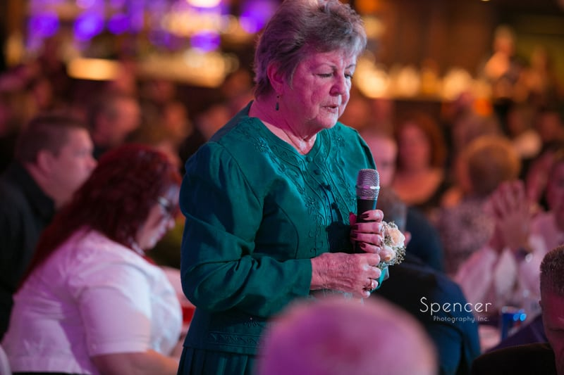 brides grandma gives prayer at Springvale Ballroom wedding reception