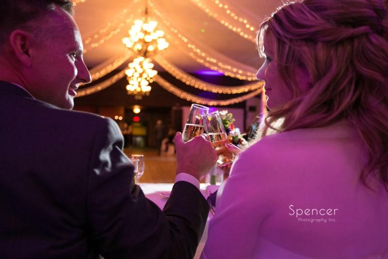 bride ang groom toast at their wedding reception at Springvale Ballroom