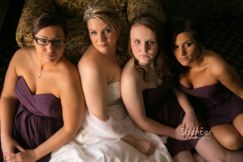 wedding day picture of bride with bridesmaids