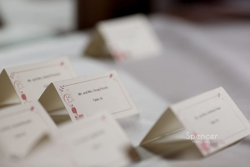 table placards at Springvale Ballroom wedding reception