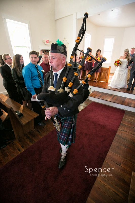 bagpipes lead recesscional out of Frostville Church