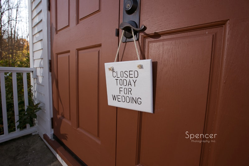 homemade wedding sign at Frostville Church wedding ceremony