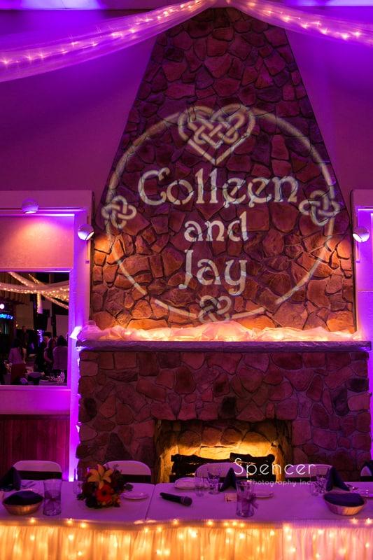 monogram at Springvale Ballroom wedding reception