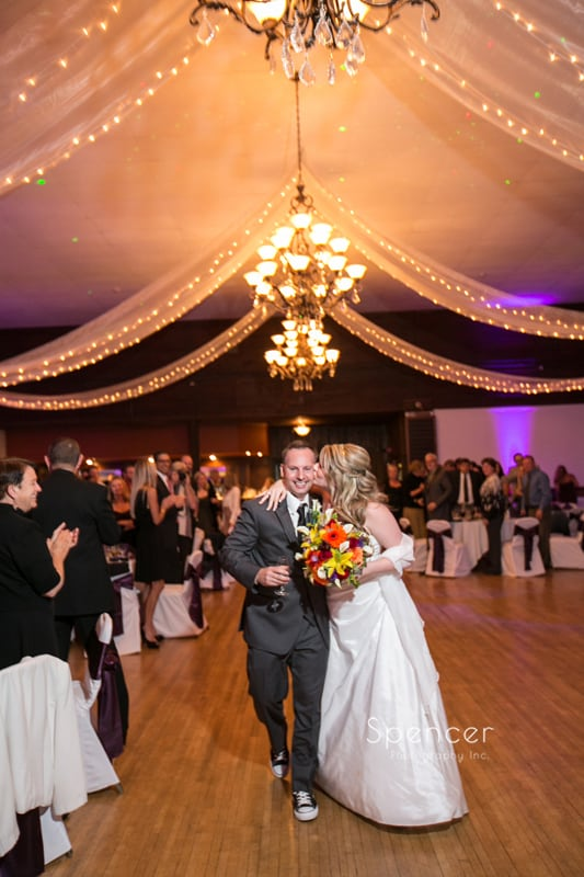 bride and groom enter their wedding reception at Springvale Ballroom