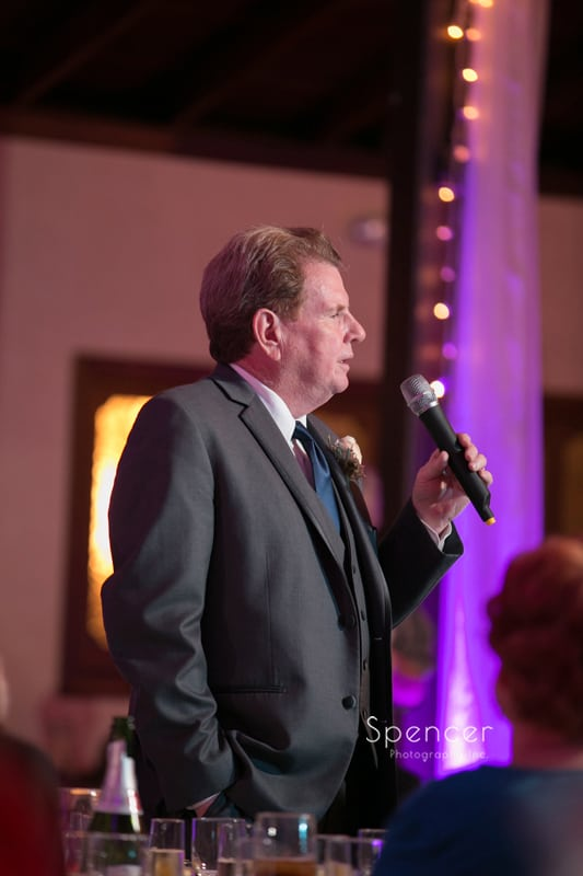 father of the bride give wedding reception speech at Springvale Ballroom