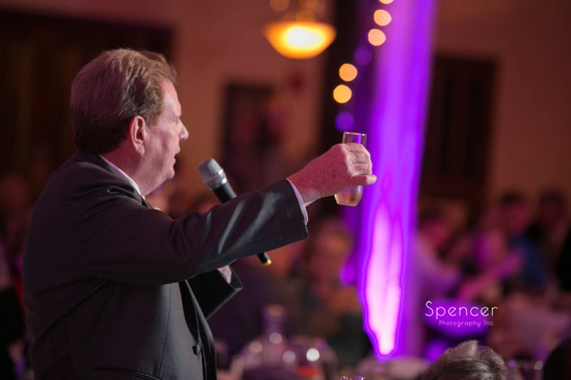 father of the bride gives reception toast at Springvale Ballroom
