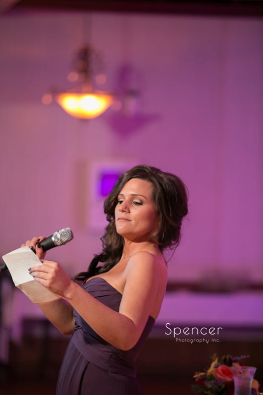 maid of honor speech at Springvale Ballroom