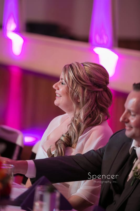 bride reacts to maid of honor speech at Springvale Ballroom