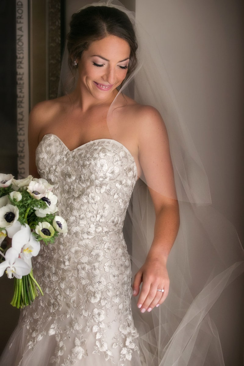 bride in her Liancarlo wedding gown