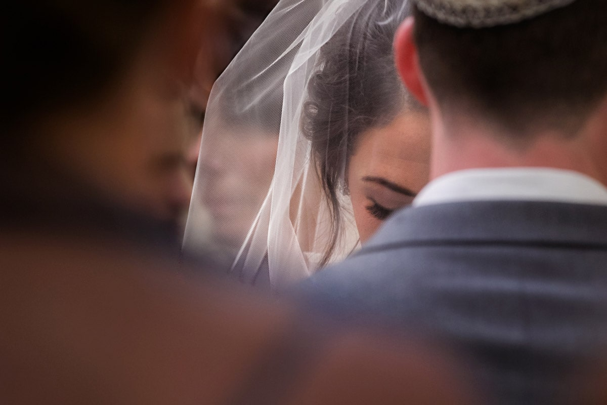 close up of bride at her wedding ceremony in akron