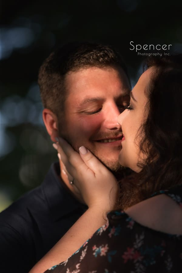 couple kissing during cleveland engagement pictures