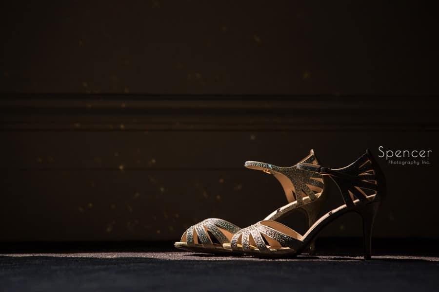 brides wedding shoes sitting at Greystone Hall
