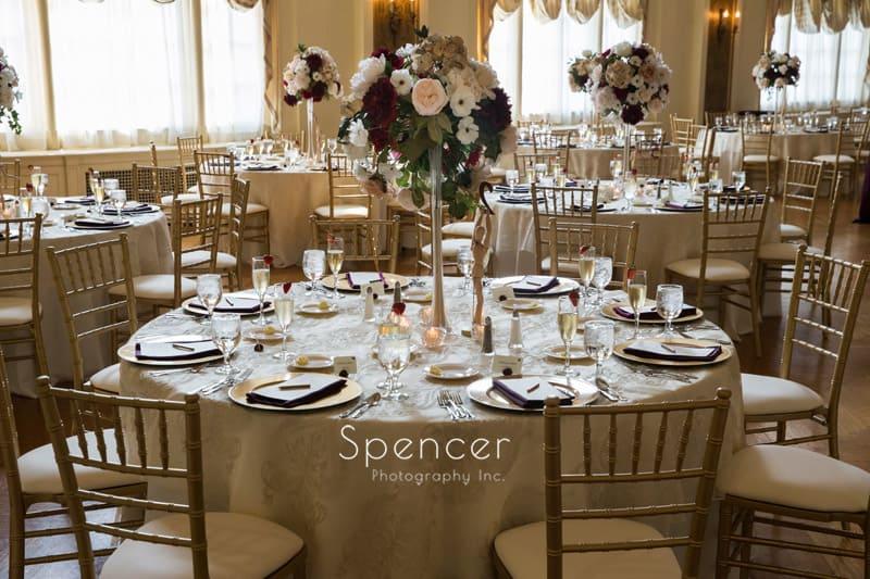 table at wedding reception Greystone Akron