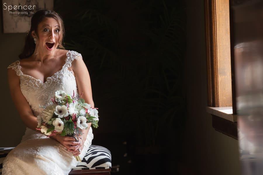 bride reacting at her wedding at Greystone