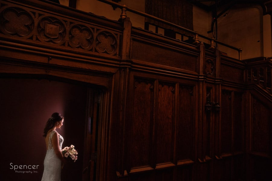 bride holding wedding flowers at Greystone Hall Akron