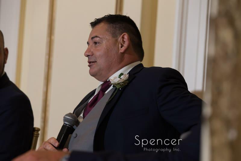 groomsman speech at wedding reception at Greystone