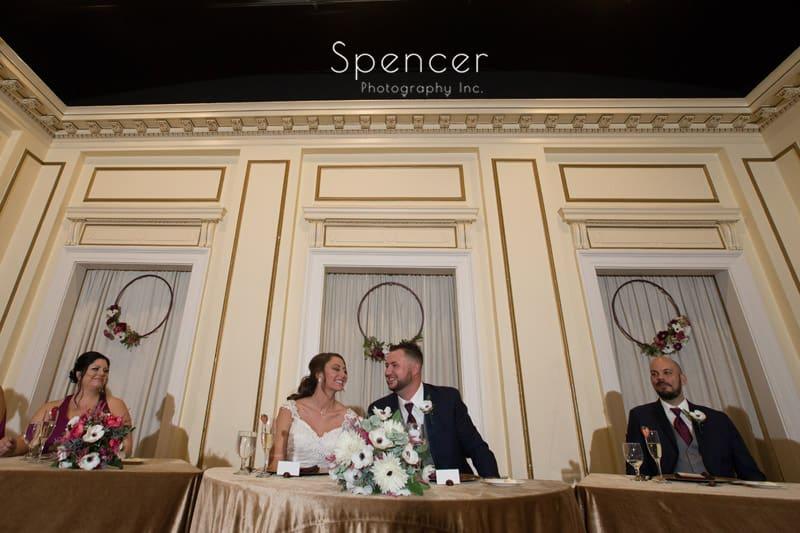 head table at Greystone Hall wedding reception