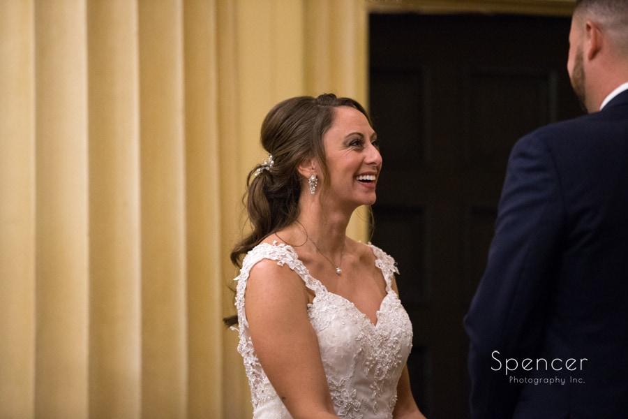 bride smiling at groom at Greystone Hall wedding