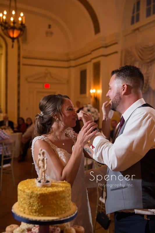 cake cutting at Greystone Hall wedding reception