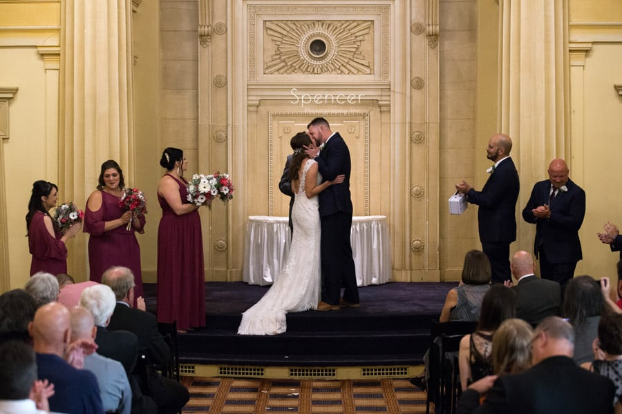 first kiss at Greystone Hall wedding ceremony
