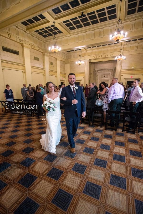 wedding recessional at Greystone Hall Akron