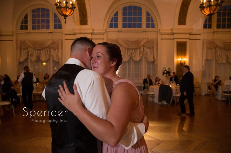 groom dancing with sister at Greystone Hall wedding reception