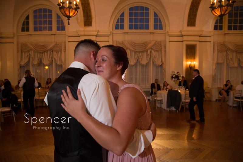 groom dancing with sister at Greystone Hall wedding reception