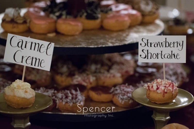 donut table at wedding reception at Greyston Hall
