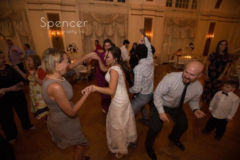 bride dancing at her wedding reception at Greystone Hall