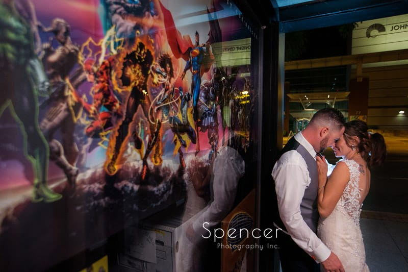 wedding picture of couple hugging in Akron Ohio