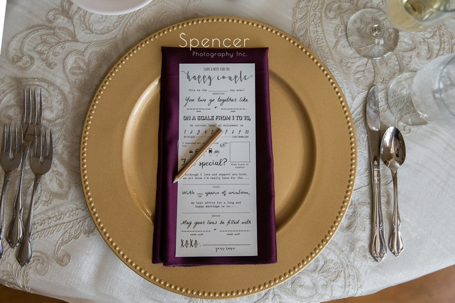 wedding reception table set at Greystone Hall in Akron